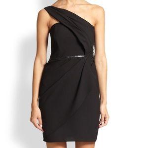 Shoshanna Crepe One Shoulder Black Evening Dress
